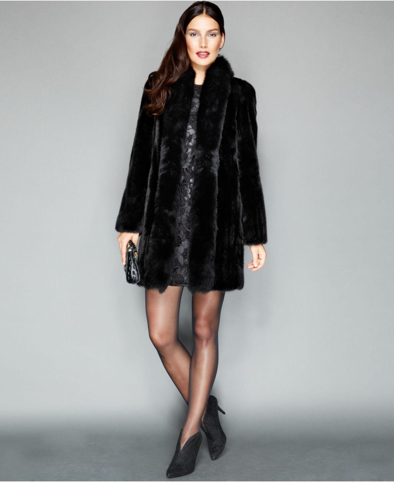 590a0e9d564 Lyst - The Fur Vault Fox-trimmed Mink Coat in Black