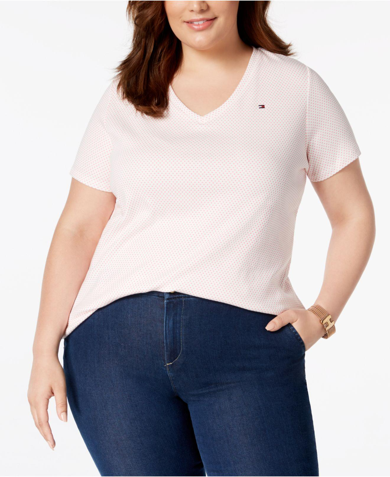 40c25ba43 Lyst - Tommy Hilfiger Plus Size Polka Dot Cotton V-neck T-shirt ...