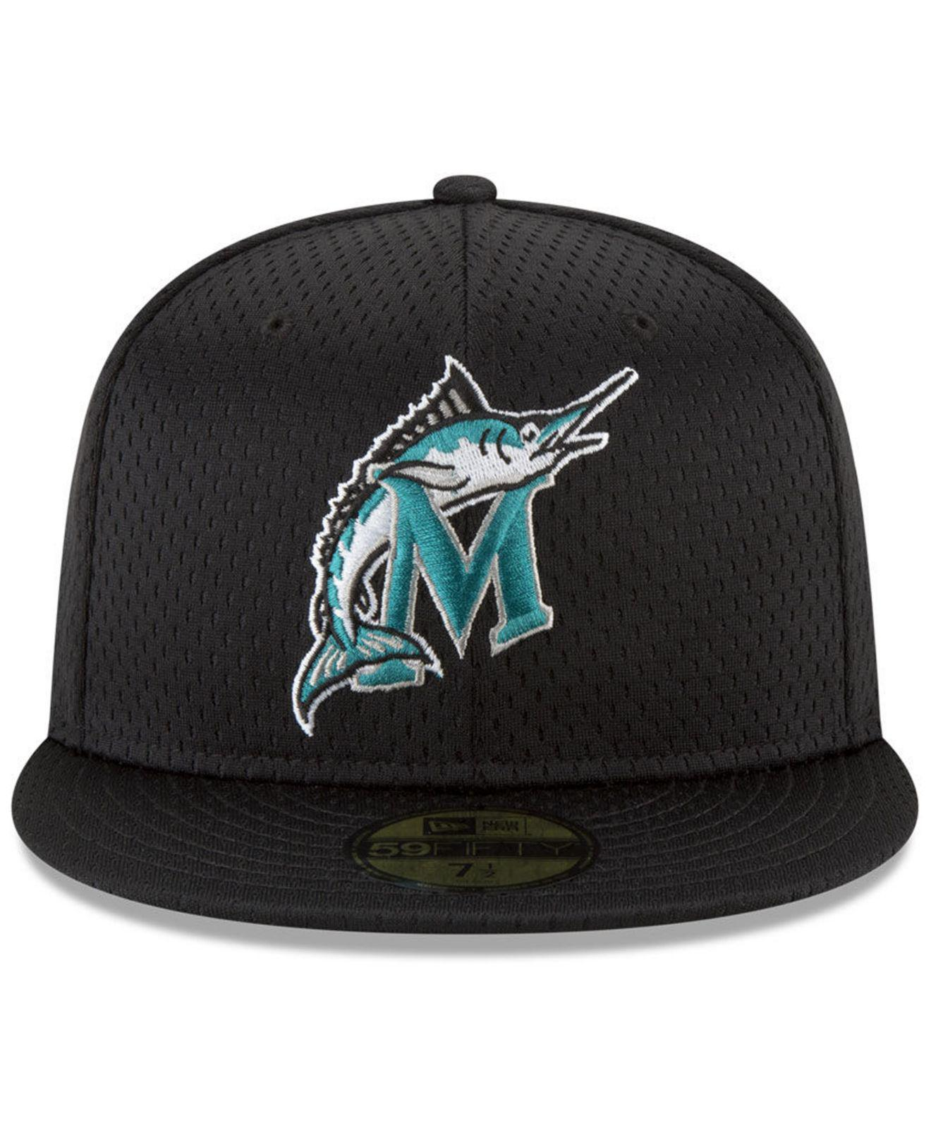 new product 5780b 3ca25 ... wholesale lyst ktz florida marlins retro classic batting practice 59fifty  fitted cap in black for men