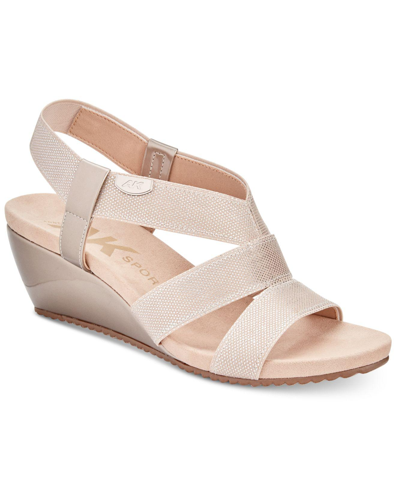 Anne Klein Cabrini Wedge Sandal(Women's) -Black/Black Elastic Cheap Sale Excellent nBPGyJu