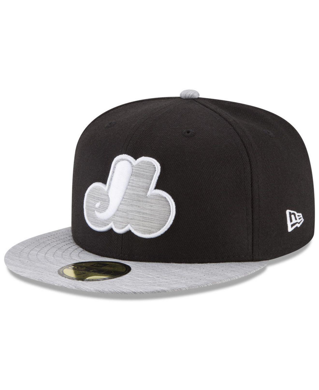ef2f754caba KTZ - Montreal Expos Black Heather Coop 59fifty Fitted Cap for Men - Lyst.  View fullscreen