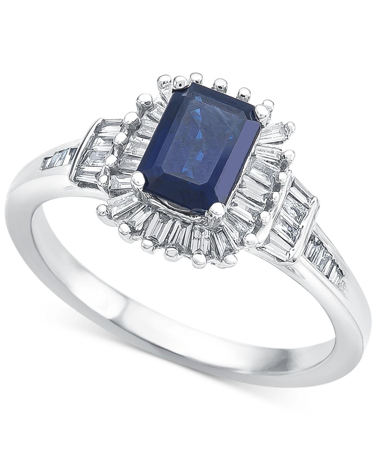 80c502bec Lyst - Macy's Sapphire (1 Ct. T.w.) & Diamond (1/3 Ct. T.w.) In 14k ...