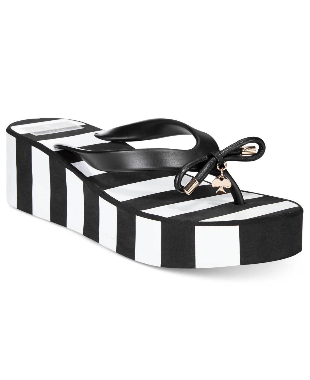 b2f026a1321 Lyst - Kate Spade Rhett Striped Wedge Sandals in Black