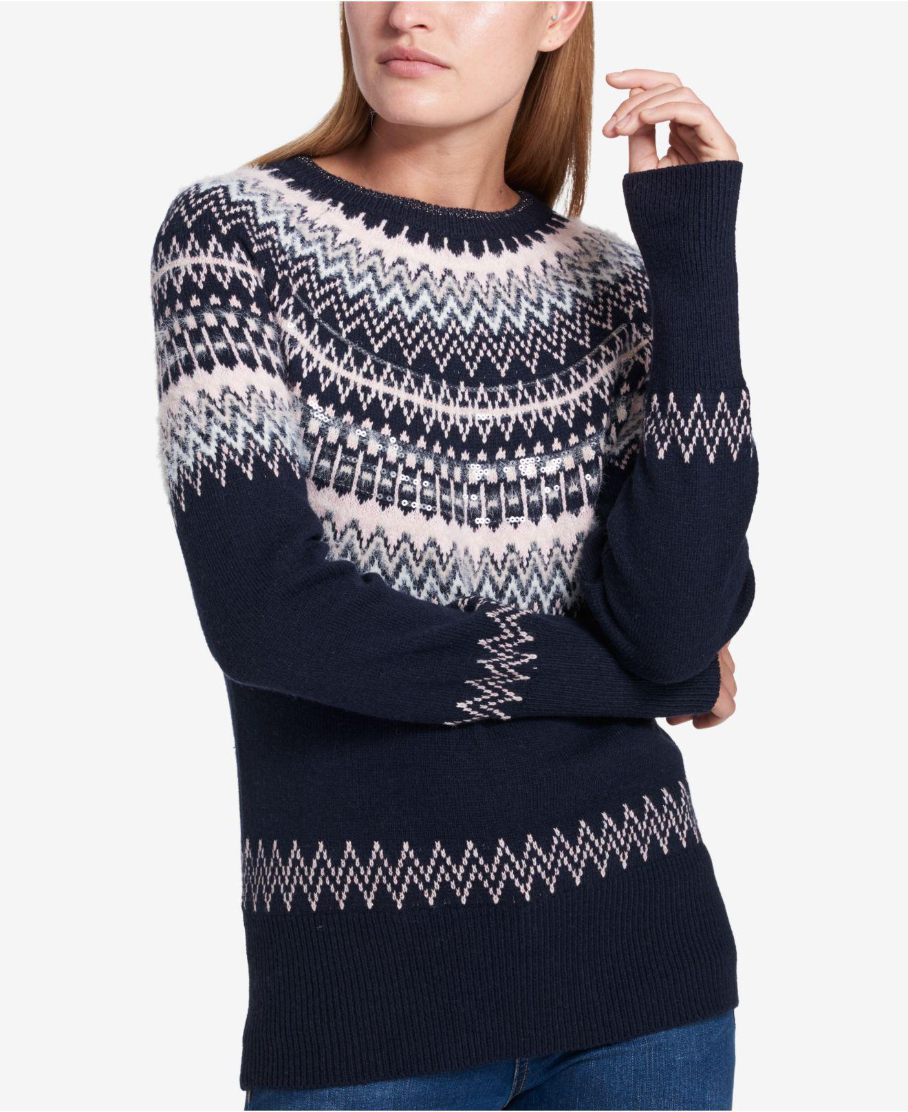 Tommy hilfiger Fair Isle Sequin-embellished Sweater in Blue | Lyst