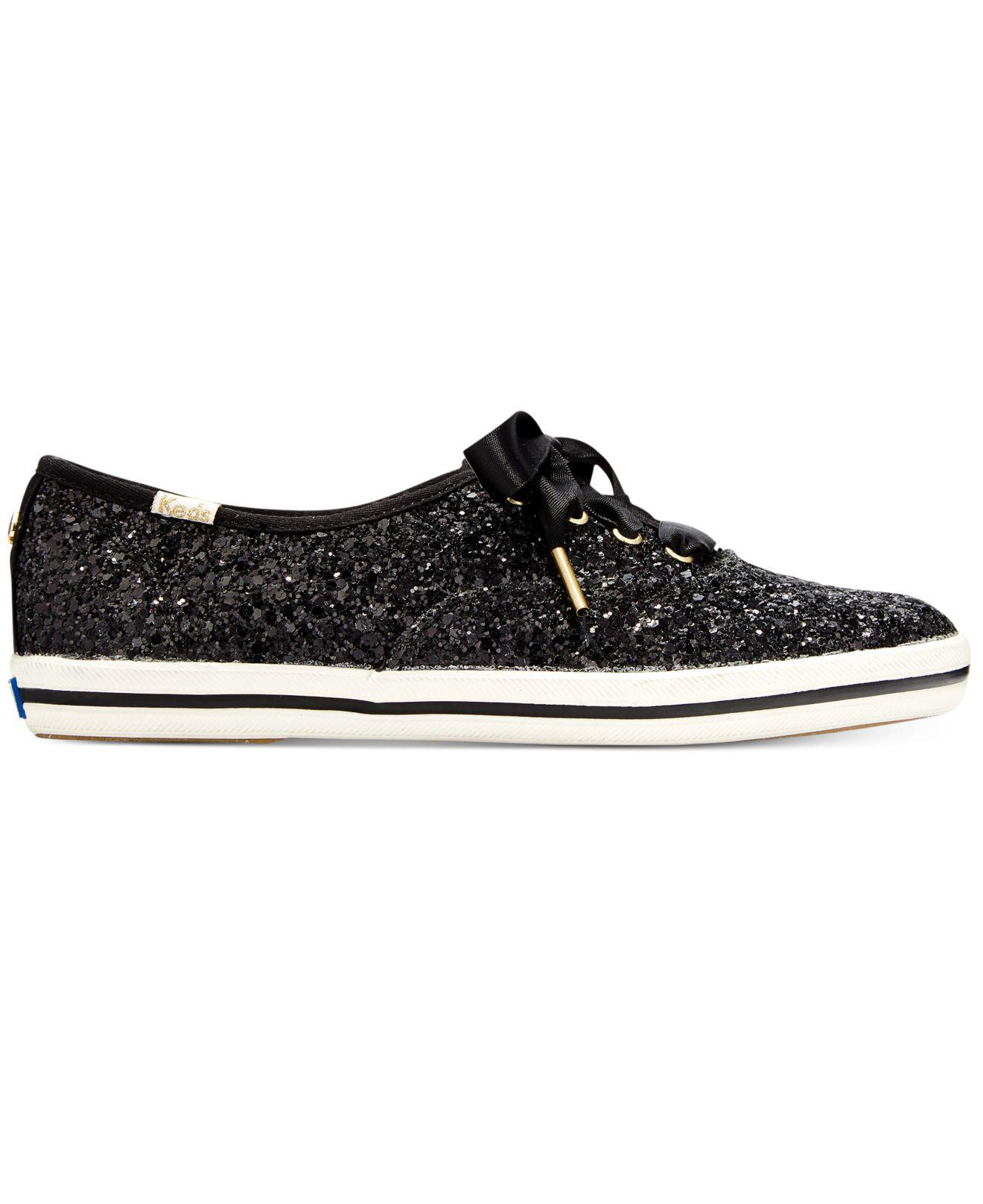 75db88a4a5 Lyst - Kate Spade Glitter Lace-up Sneakers in Black - Save  11.764705882352942%