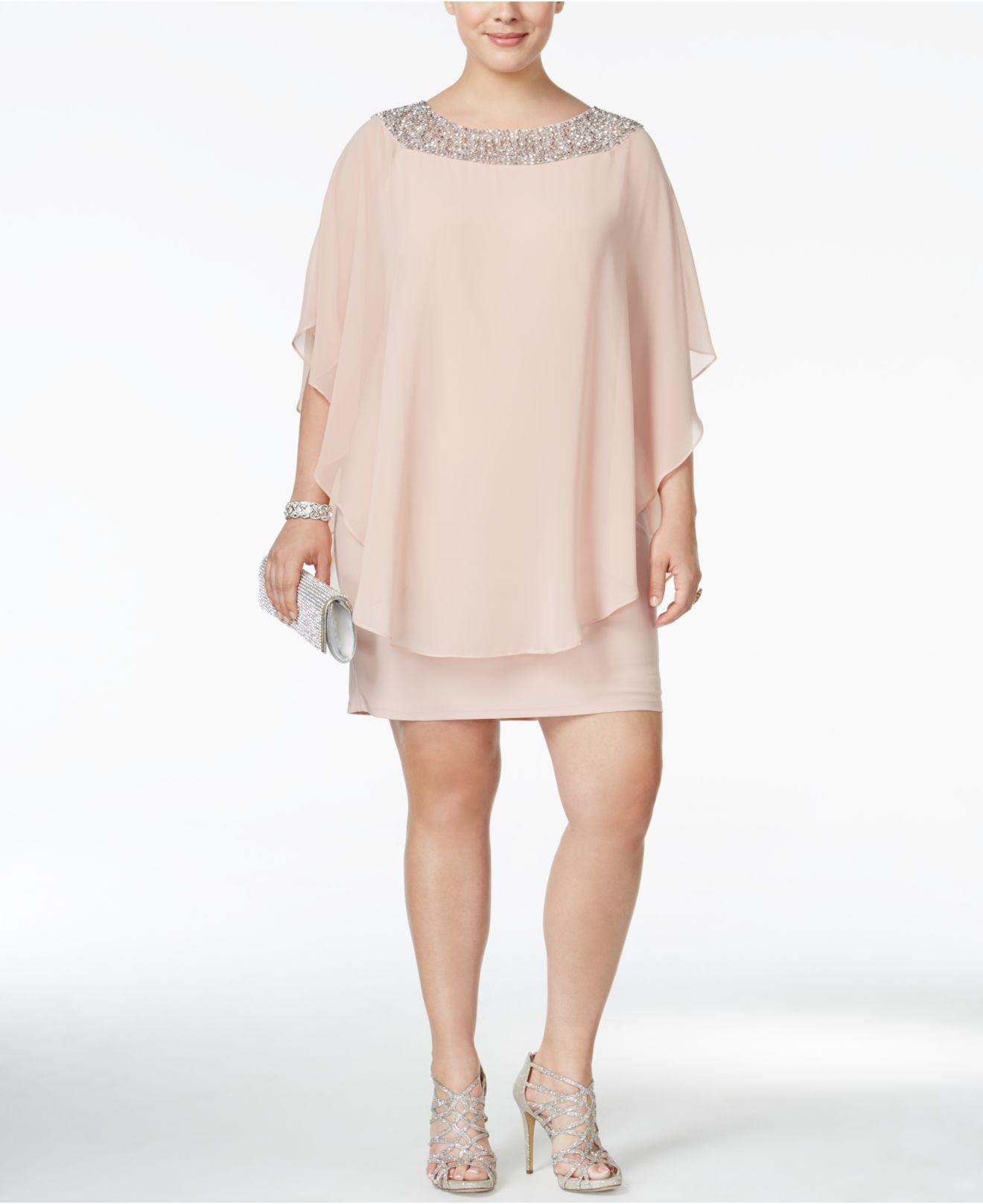 90ed40db3ab Lyst - Xscape Plus Size Beaded Chiffon Capelet Dress in Pink