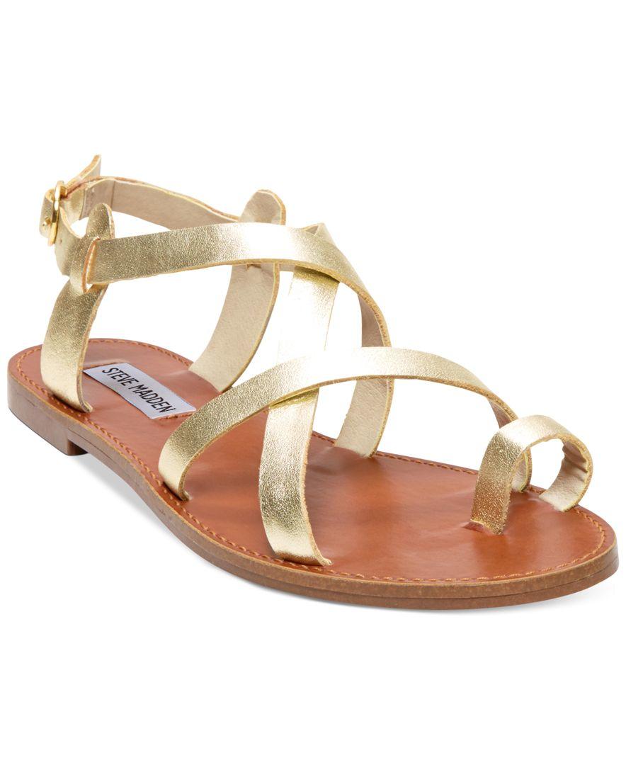 Lyst Steve Madden Women S Agathist Flat Sandals In Metallic