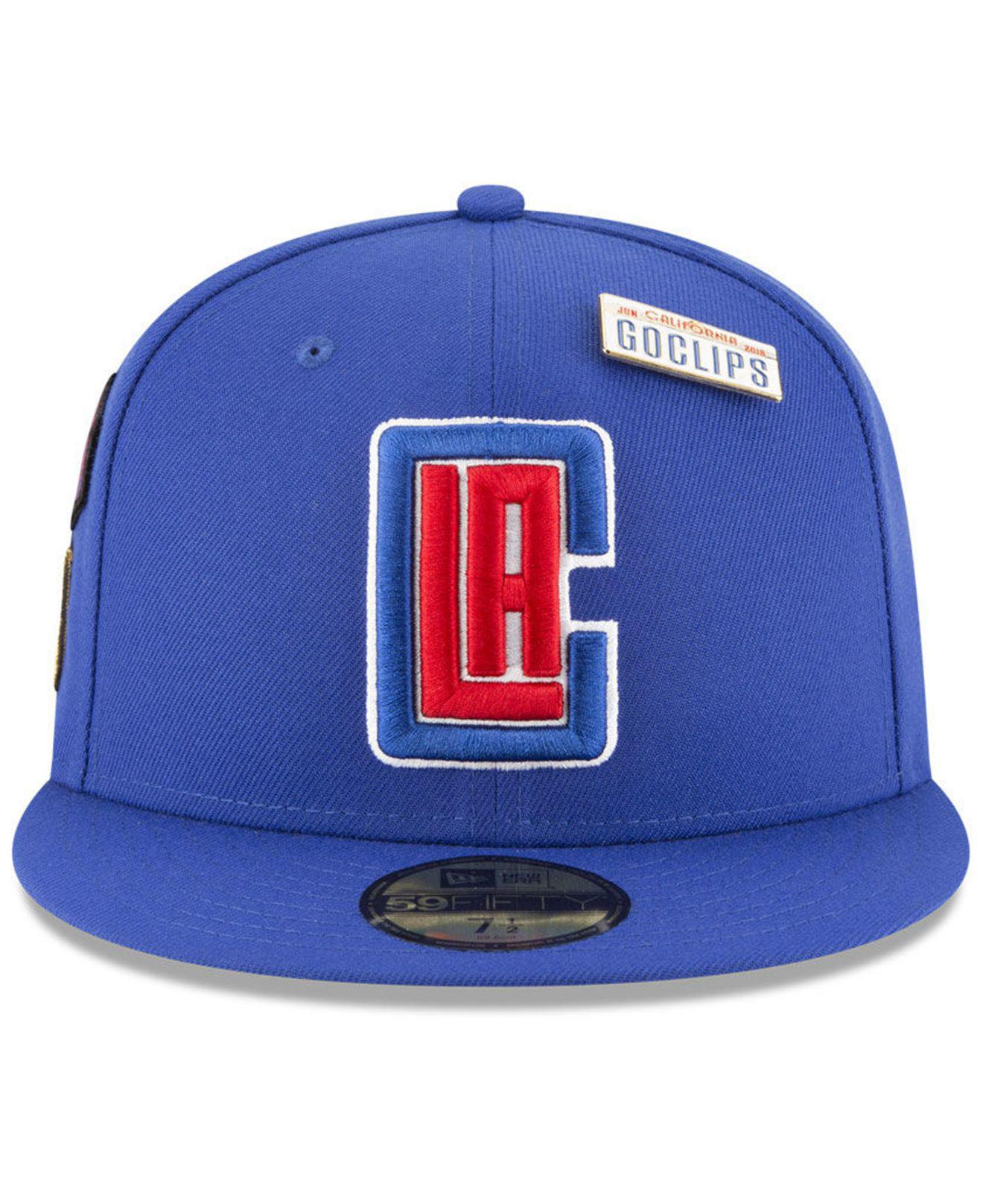 646bb35a8fe Lyst - Ktz Los Angeles Clippers On-court Collection 59fifty Fitted Cap in  Blue for Men