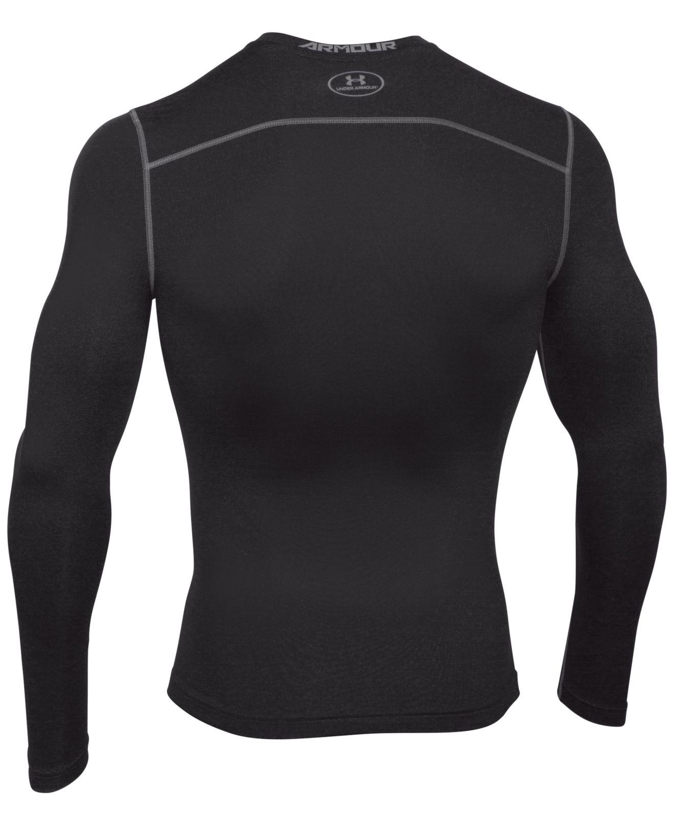 Under armour long sleeve t shirt in black for men lyst for Under armour cold gear shirt mens