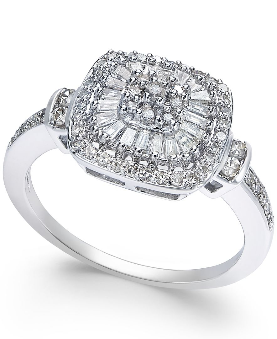 Macy's Diamond Vintage-inspired Engagement Ring (1/2 Ct. T ...