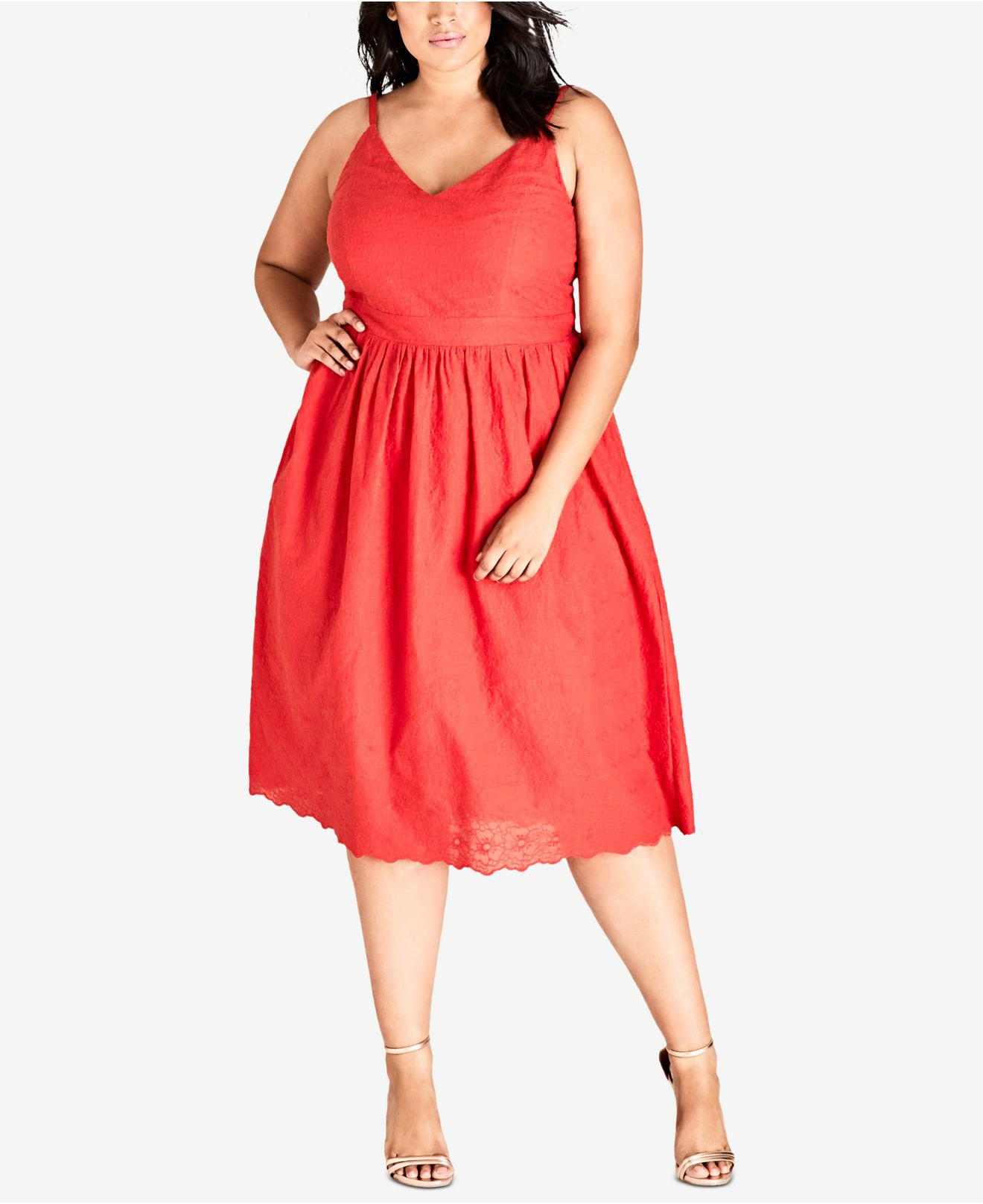 118491b31a5 City Chic. Women s Trendy Plus Size Cotton Embroidered Fit   Flare Dress
