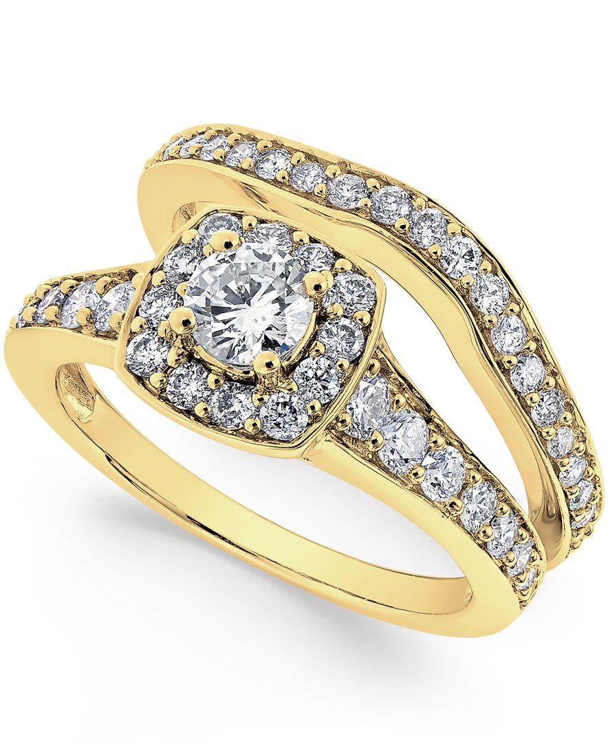 Macy s Diamond Frame Bridal Set 1 1 4 Ct T w In 14k Yellow White G