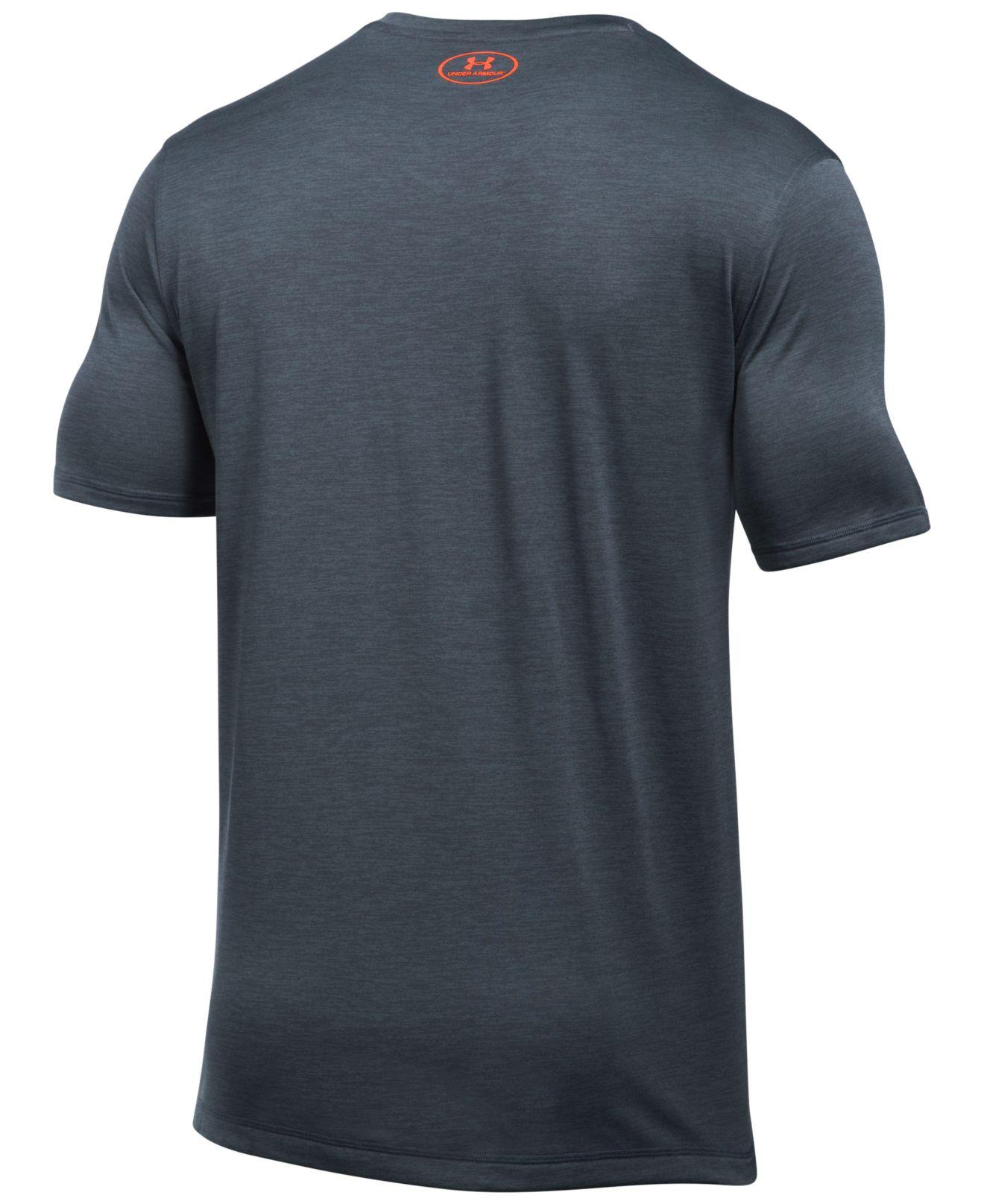 Under armour v neck tech t shirt in gray for men lyst for Gray under armour shirt