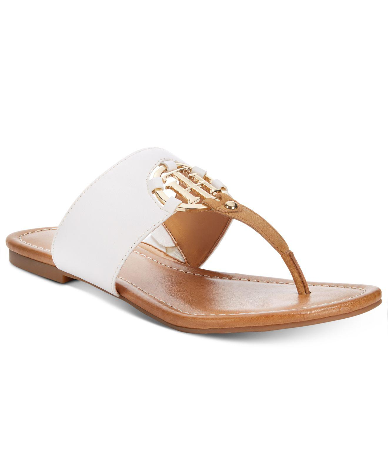 f4e0c60cd91 Lyst - Tommy Hilfiger Sia Slip-on Thong Sandals in White