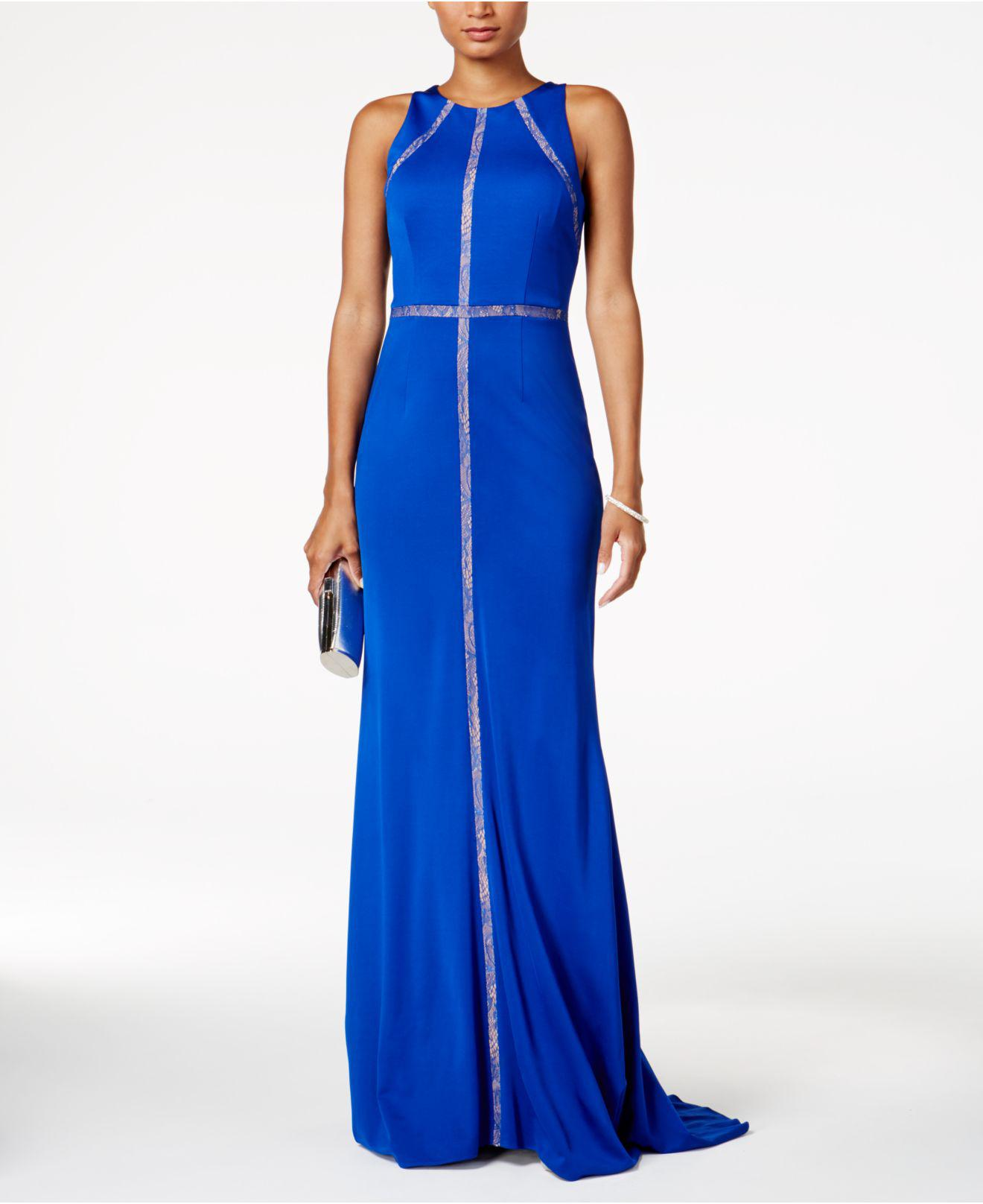3a49baa5eec Lyst - Adrianna Papell Lace-trim Gown in Blue