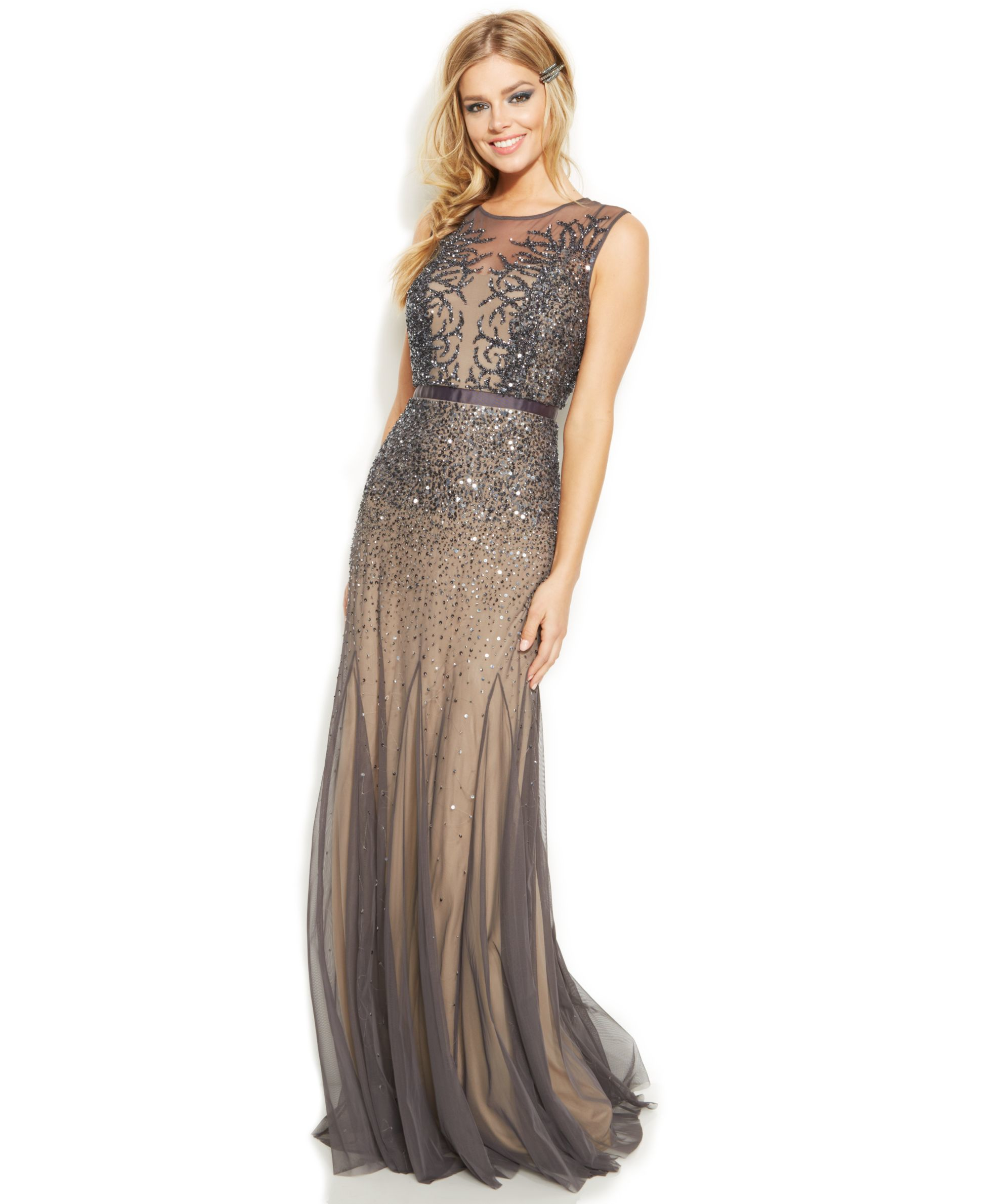 Lyst - Adrianna Papell Petite Sleeveless Beaded Illusion Gown in Gray
