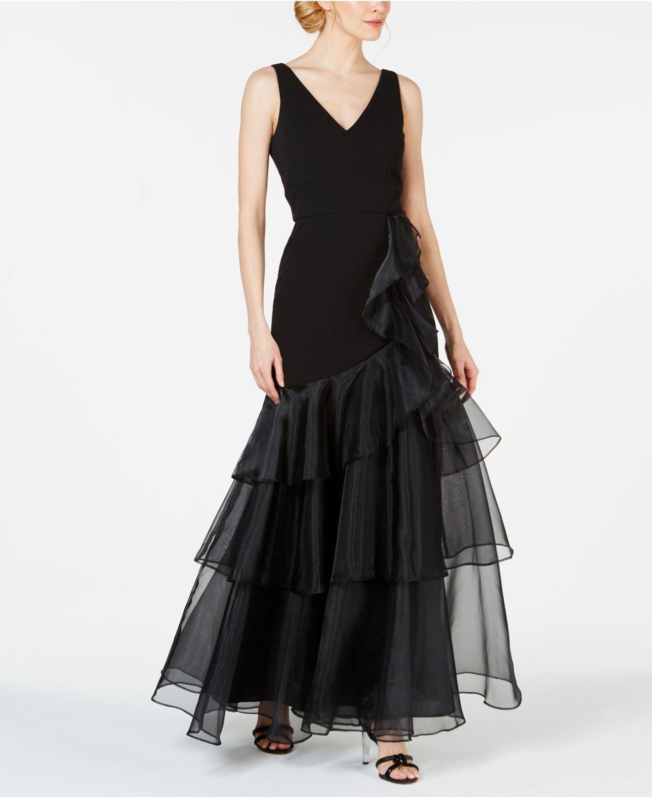 b7515f48bd85 Lyst - Calvin Klein V-neck Organza Ruffle Gown in Black