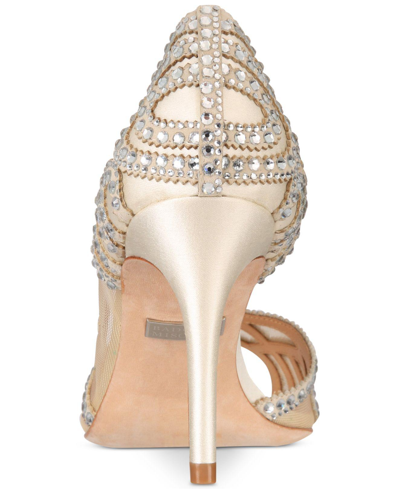 954ff6e28a7 Lyst - Badgley Mischka Marla Embellished Peep-toe Evening Pumps in White