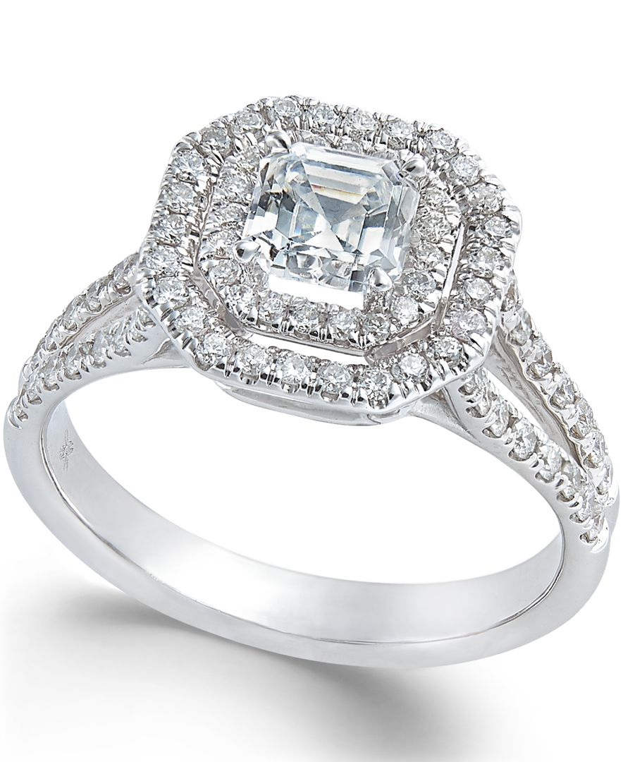 macy s halo engagement ring in 18k white gold 1