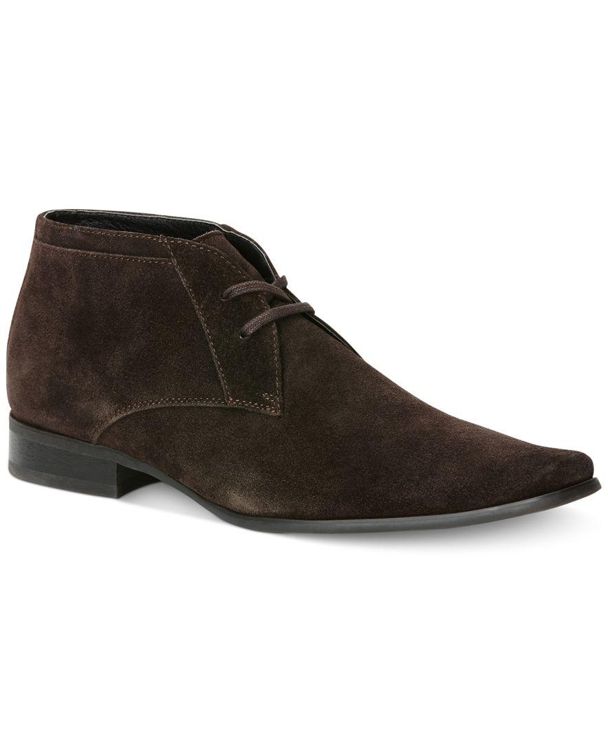 calvin klein ballard suede boots in brown for lyst