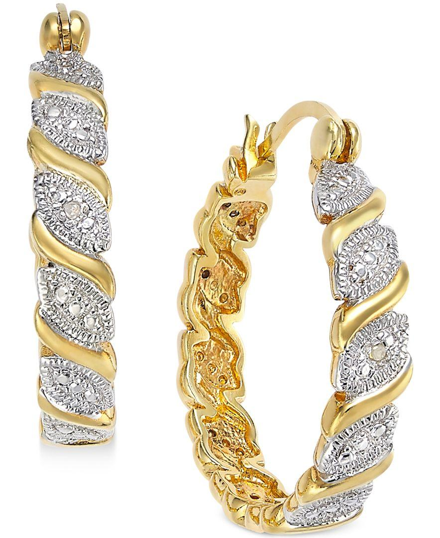 e877ea929 Lyst - Macy's Victoria Townsend Diamond Accent Marquise Hoop ...
