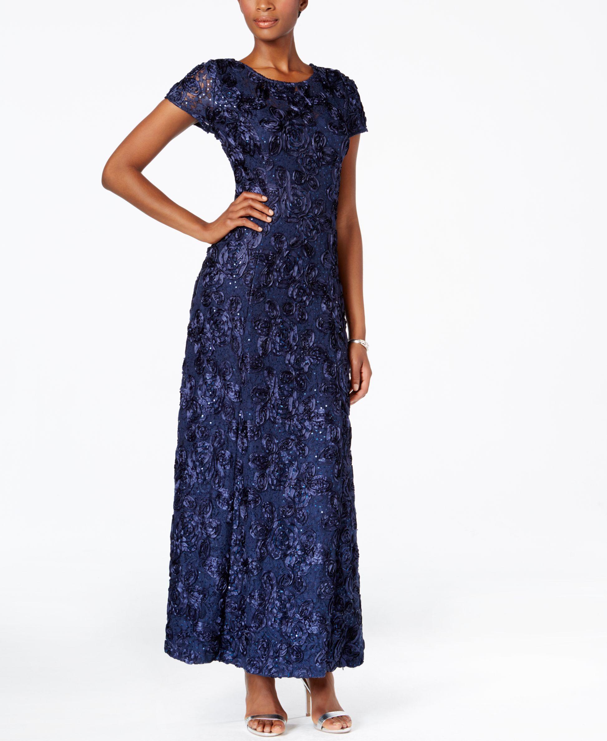 Macys Navy Blue Dresses: Alex Evenings Rosette A-line Gown In Blue