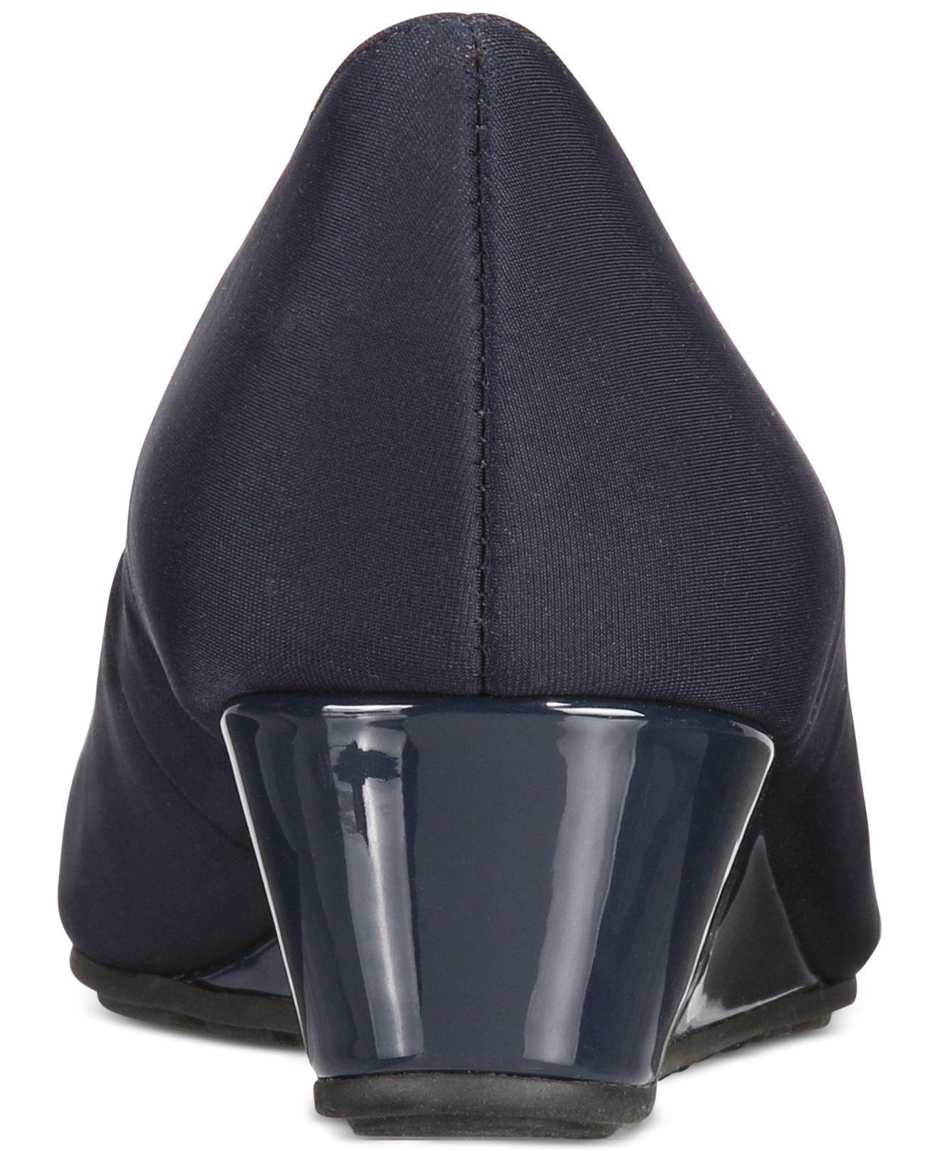 bee0906261cd Bandolino - Blue Candra Peep-toe Wedge Pumps - Lyst. View fullscreen