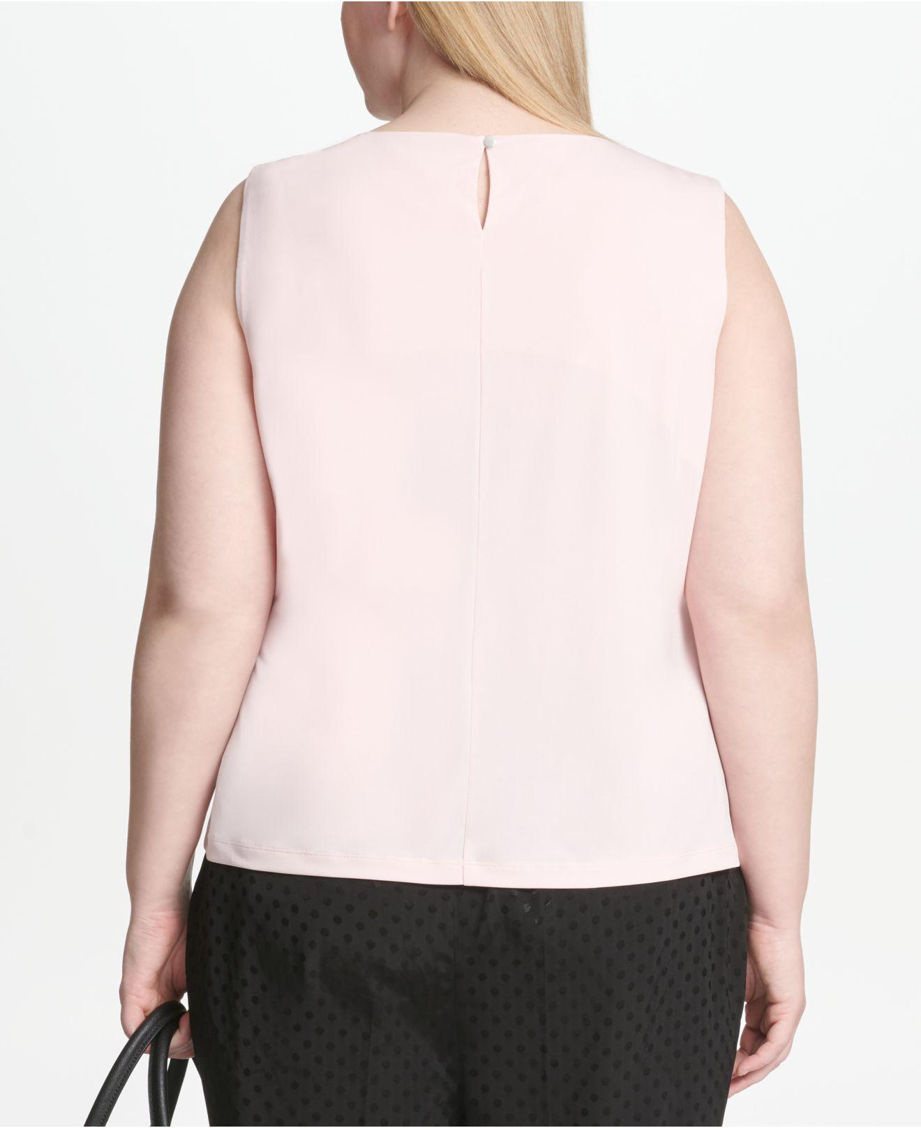 327aaf9262fbb Lyst - Calvin Klein Plus Size Sleeveless Pleated Top in Pink