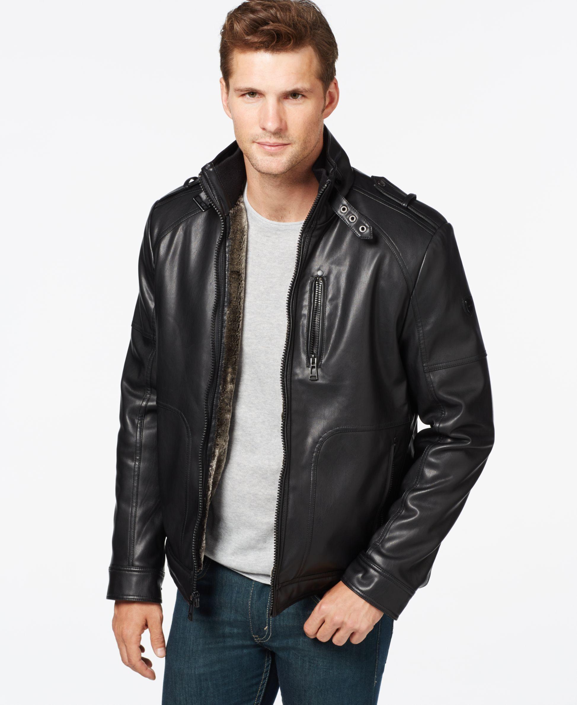 Calvin klein leather jacket mens