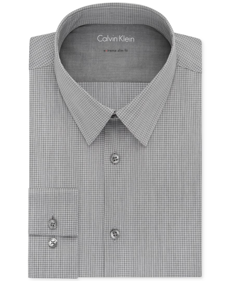 Calvin klein x extra slim fit flint grey check dress shirt for Calvin klein athletic fit dress shirt