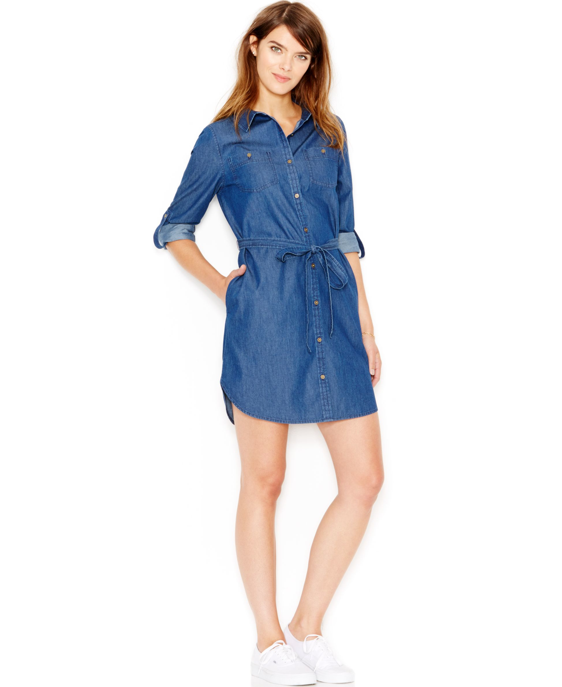 maison jules denim shirtdress only at macy s in blue lyst