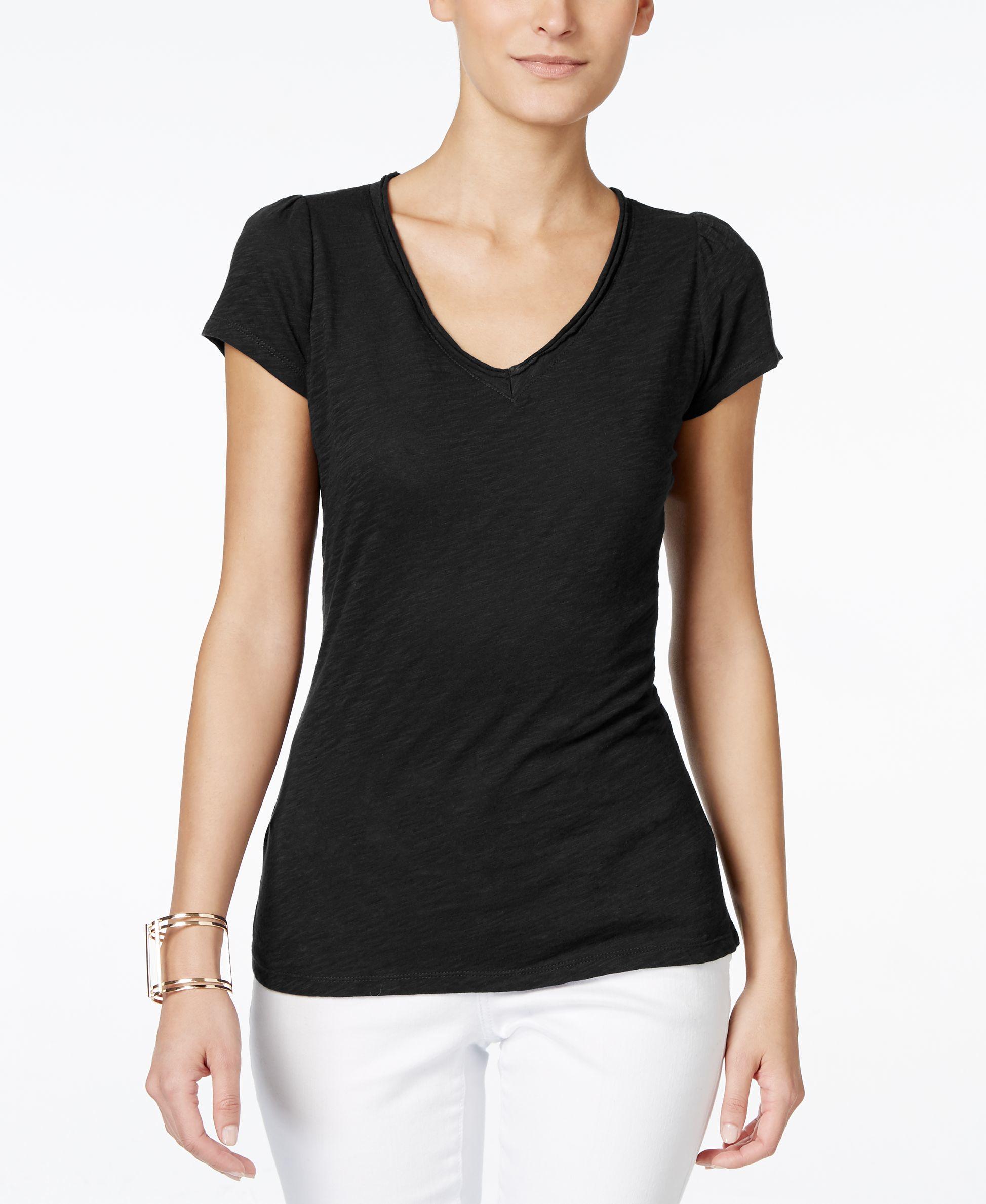 Lyst inc international concepts petite v neck t shirt for Petite white tee shirt