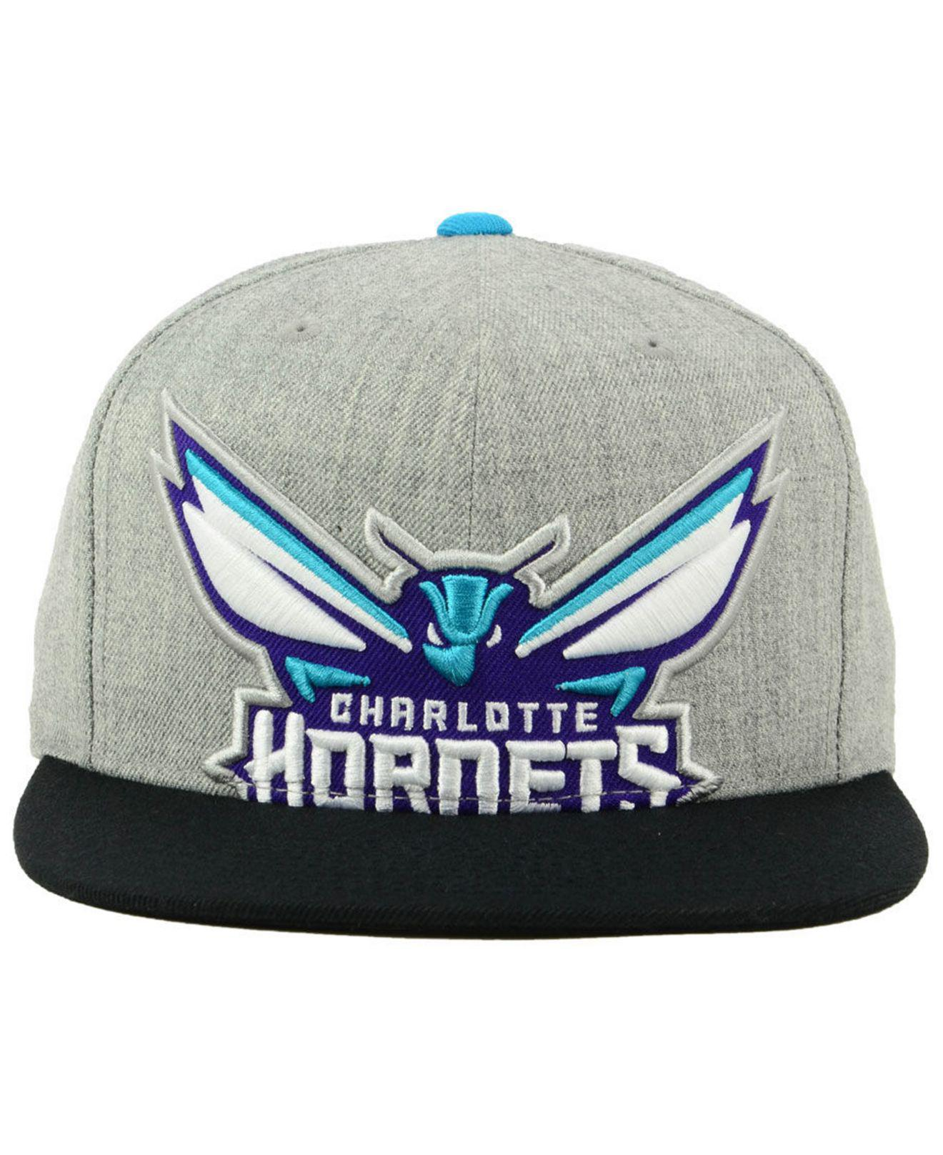 online store e9b76 a8c36 ... side panel cropped snapback cap 844cd 31fe3  coupon for lyst mitchell  ness charlotte hornets cropped heather snapback cap in gray for men 06824