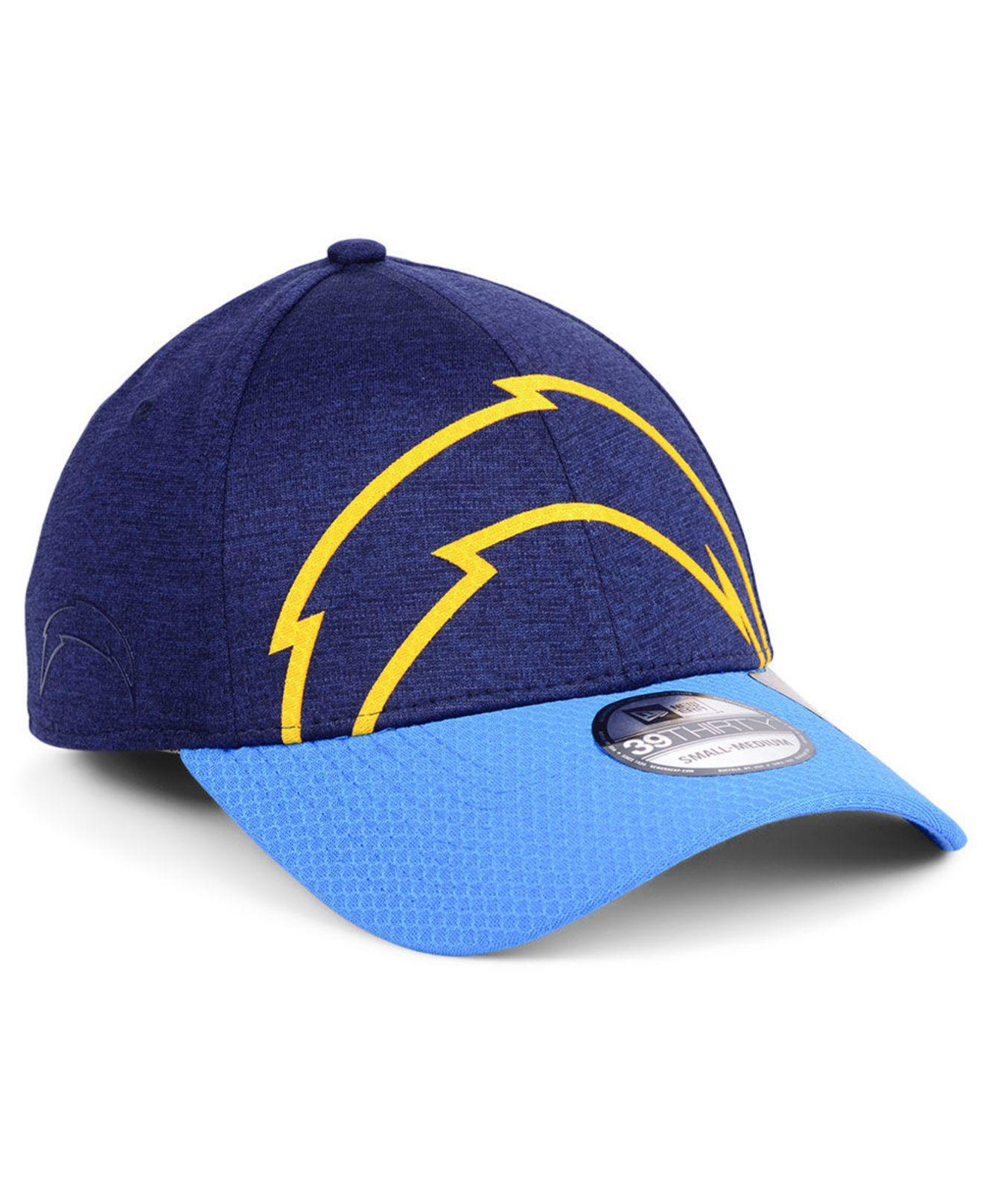 6debeb83626 KTZ. Men s Blue Los Angeles Chargers Oversized Laser Cut Logo 39thirty Cap