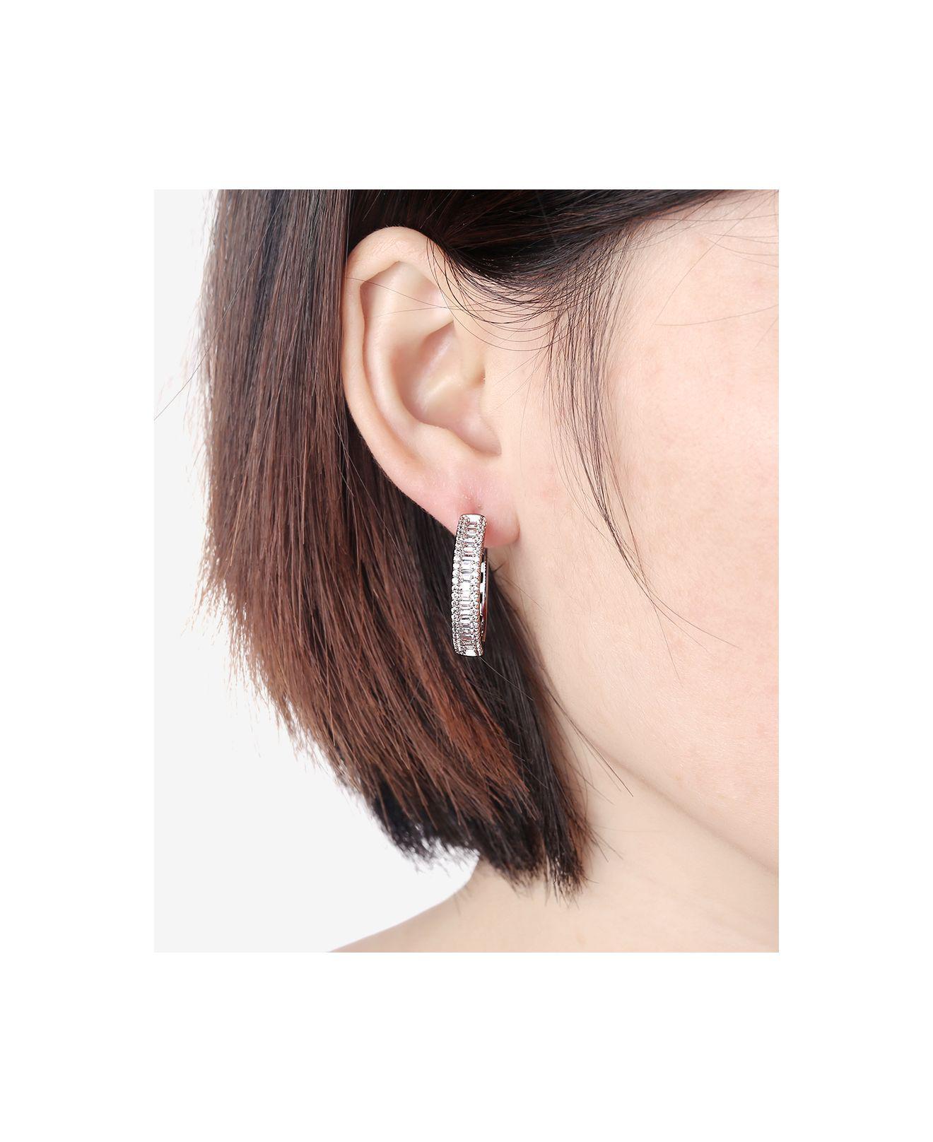 3a938dedef7bee Macy's Cubic Zirconia Small Hoop Earrings In Sterling Silver in Metallic -  Lyst