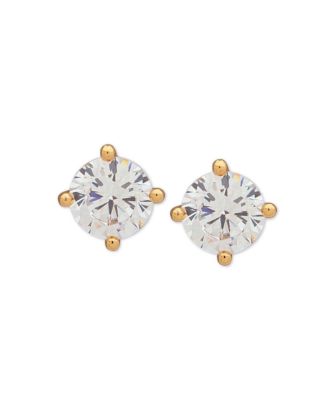 7a4c6743c Lyst - DKNY Gold-tone Crystal Stud Earrings in Metallic