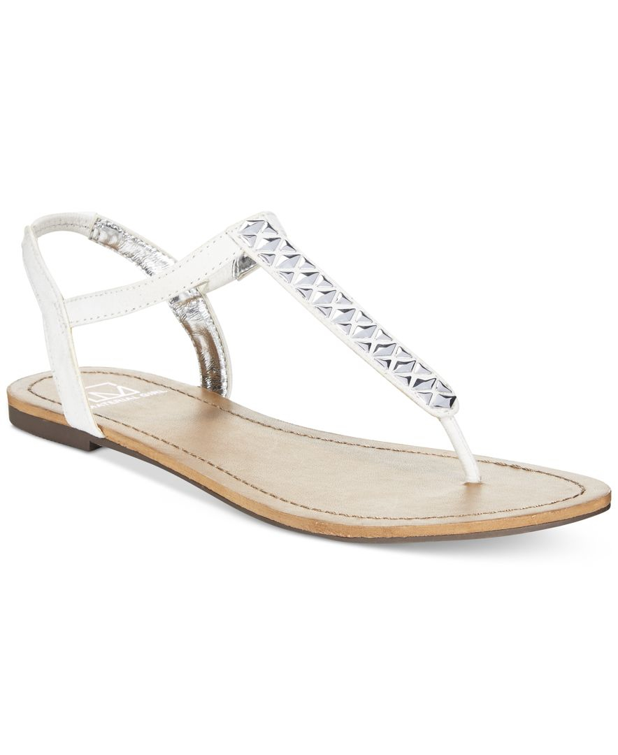 Material Girl Sage T Strap Flat Thong Sandals Only At