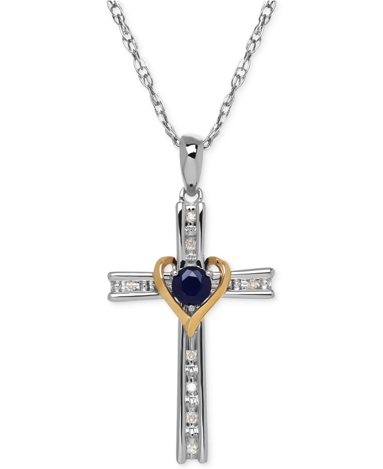 Macy s Sapphire 1 3 Ct T w And Diamond Accent Cross Pendant