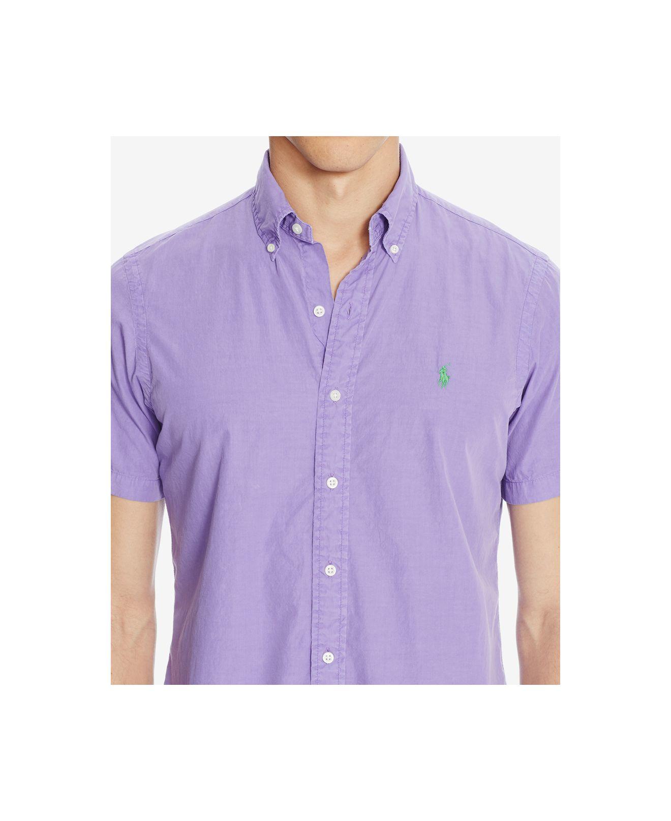 Polo ralph lauren men 39 s short sleeve silk shirt in purple for Silk short sleeve shirt