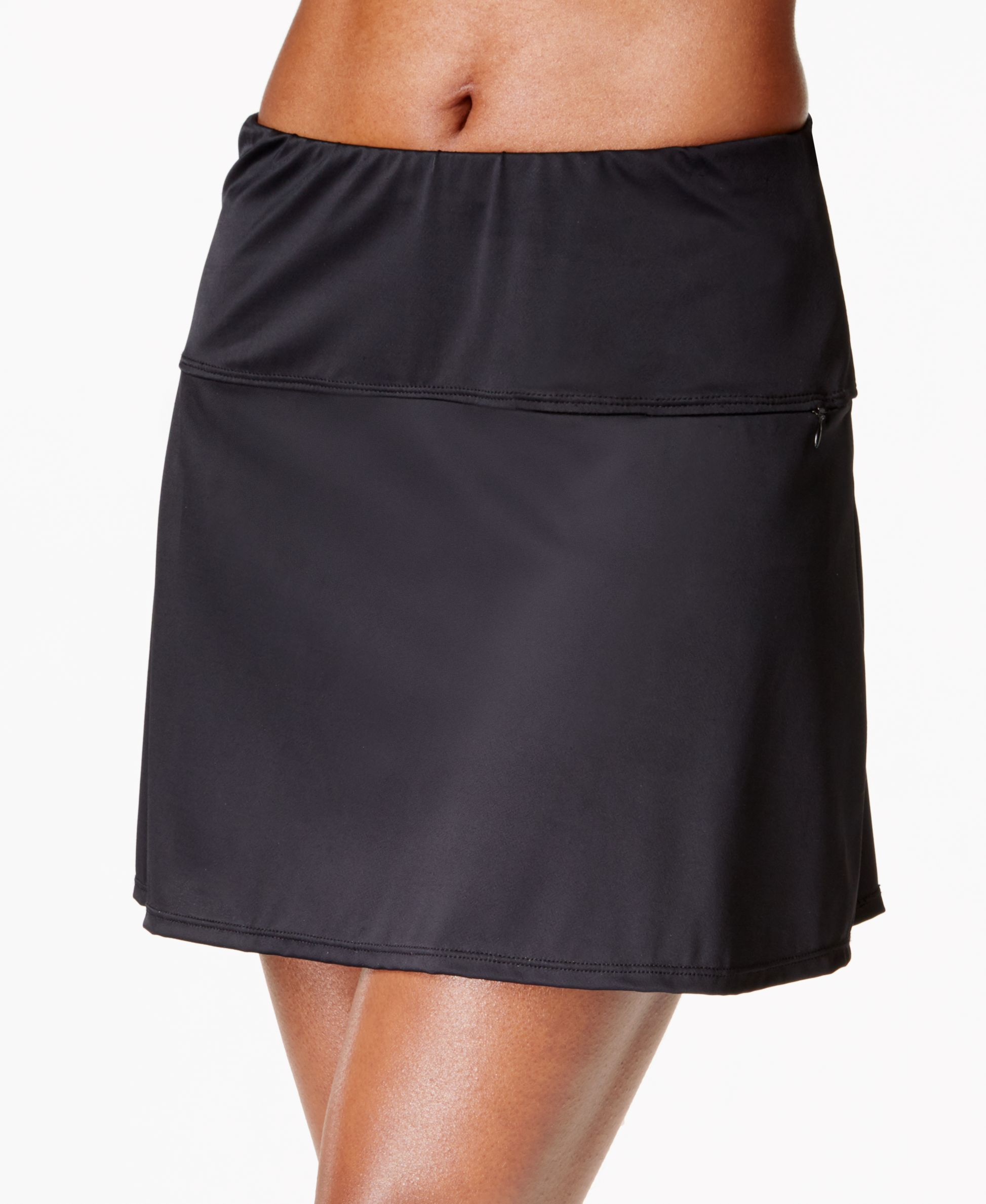 Swim Skirts. Need to update your swimsuit style? Ease into the season with swim skirts and coordinating tops. Just the Right Amount of Coverage Skirts and tankini tops provide more coverage than a bikini with the same great freedom of movement and comfort. Choose from a variety of skirt styles, from snug to loose and ruffled.