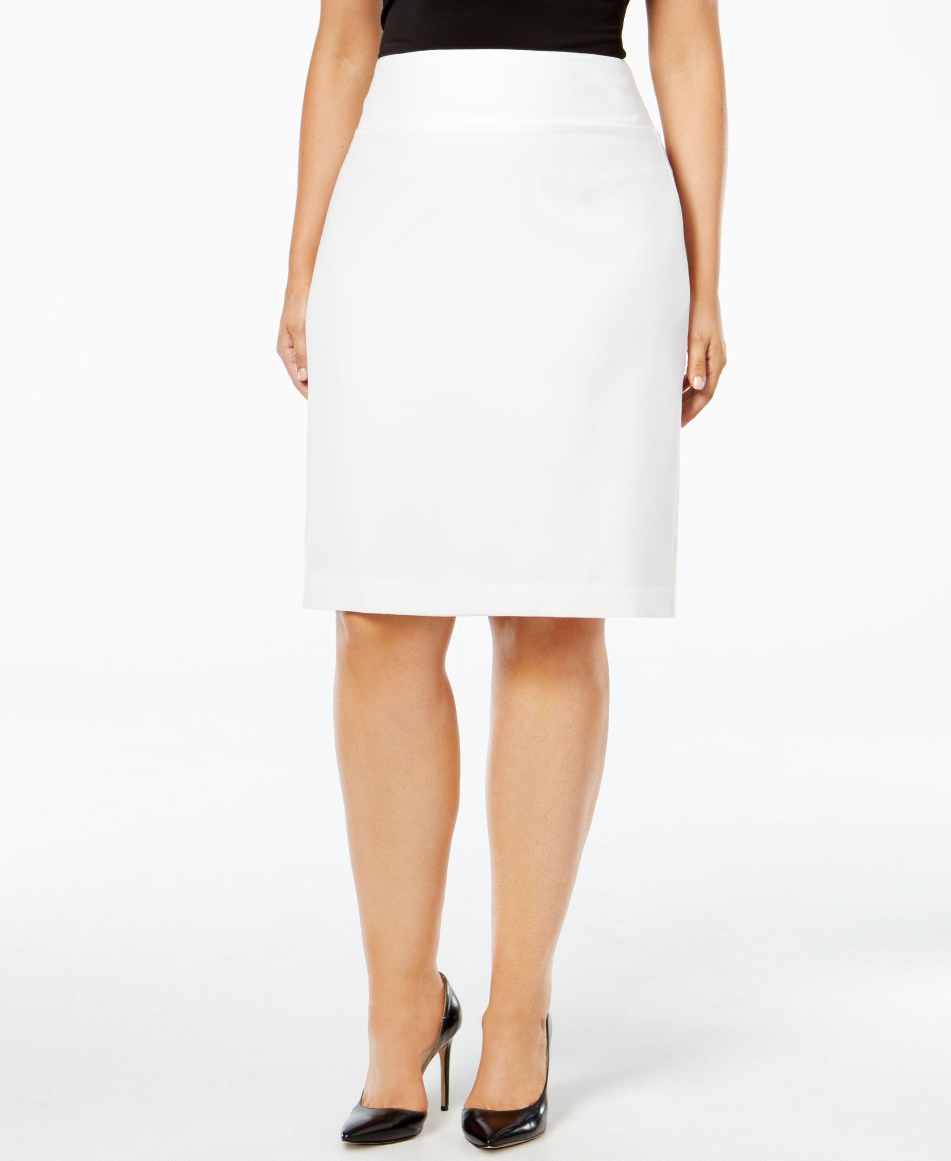 b9deaa32ff Alfani Plus Size Classic Pencil Skirt in White - Lyst