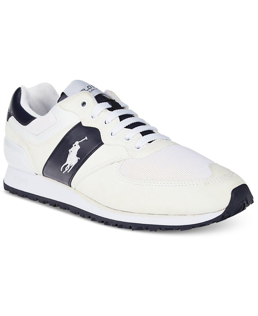 polo ralph lauren men 39 s slaton pony sneakers in white for. Black Bedroom Furniture Sets. Home Design Ideas
