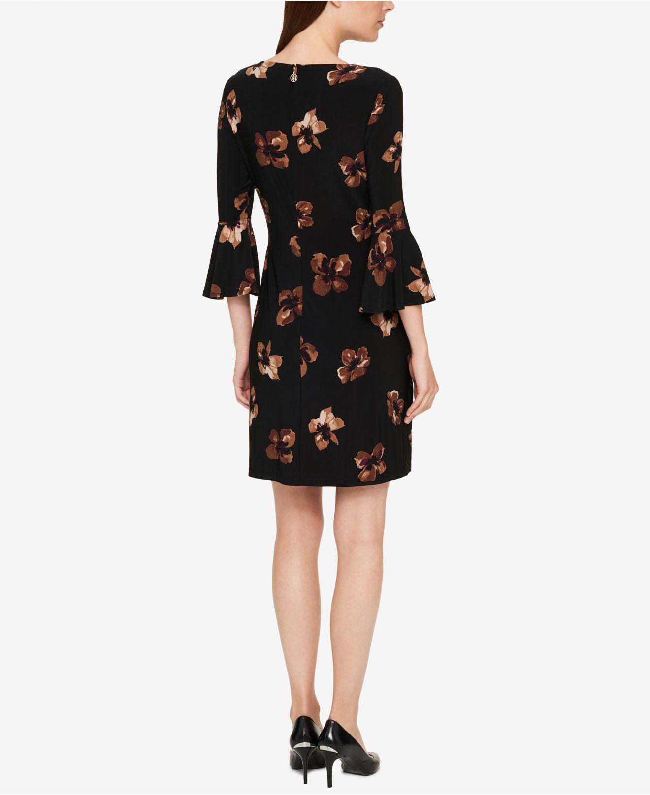 191d68b6b Lyst - Tommy Hilfiger Printed Bell-sleeve Dress in Black