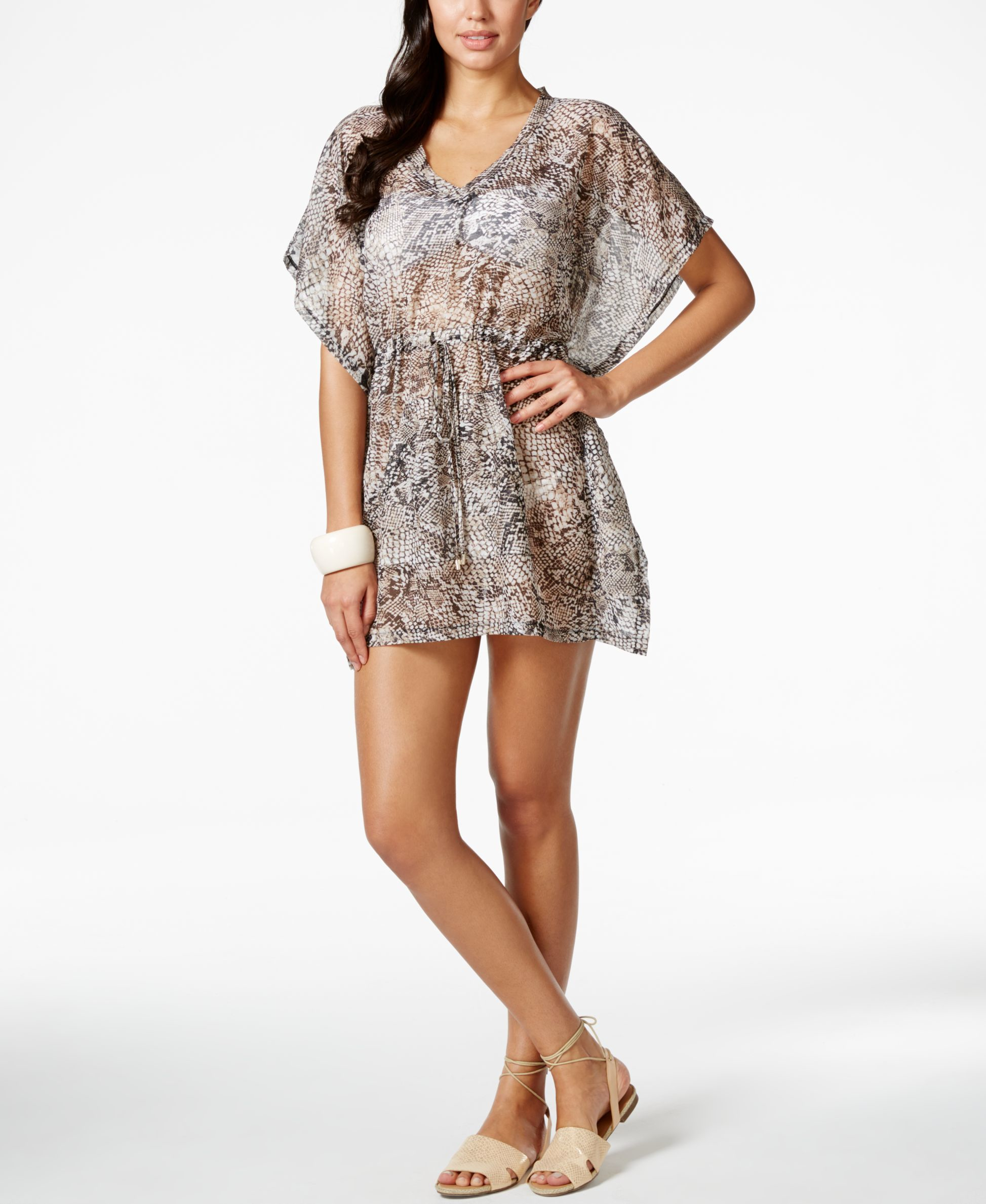 403306e46d Lyst - Calvin Klein Pocketed Snakeskin-print Cover Up in Brown