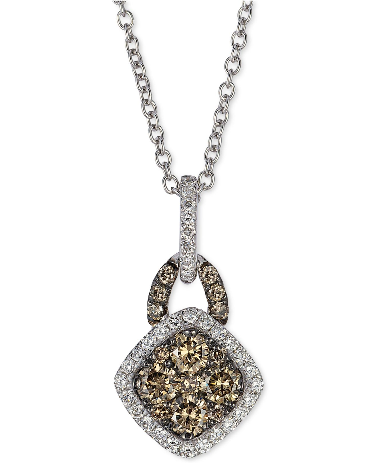 le vian white and chocolate diamond pendant necklace 3 8. Black Bedroom Furniture Sets. Home Design Ideas
