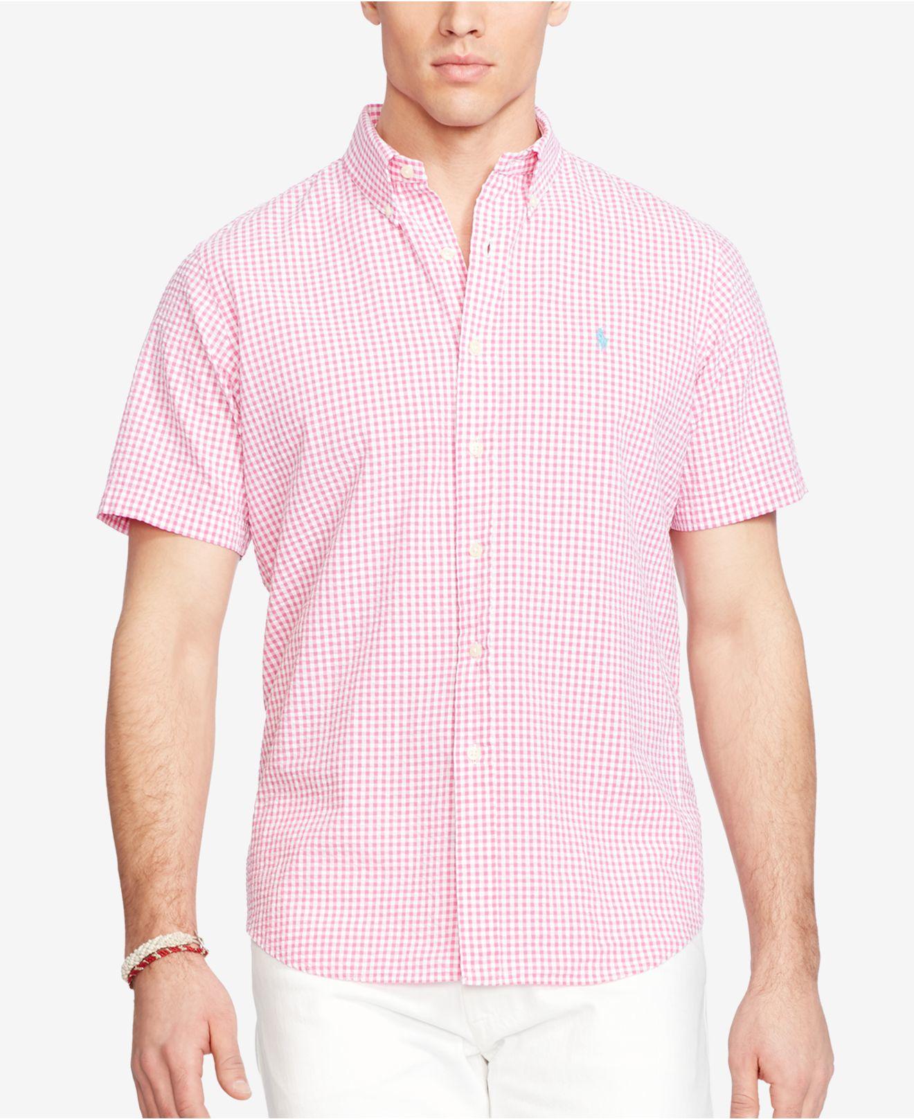 Polo ralph lauren short sleeve seersucker shirt in pink for Pink and white ralph lauren shirt