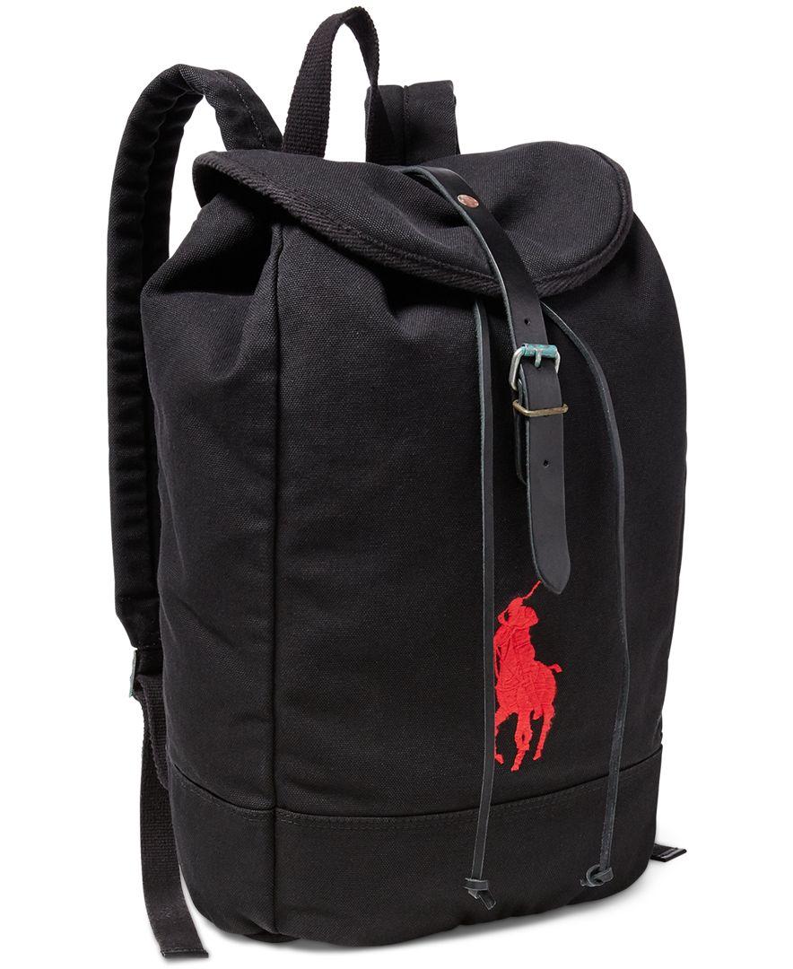Lyst - Polo Ralph Lauren Men s Big Pony Canvas Backpack in Black for Men ebc7b8a764046