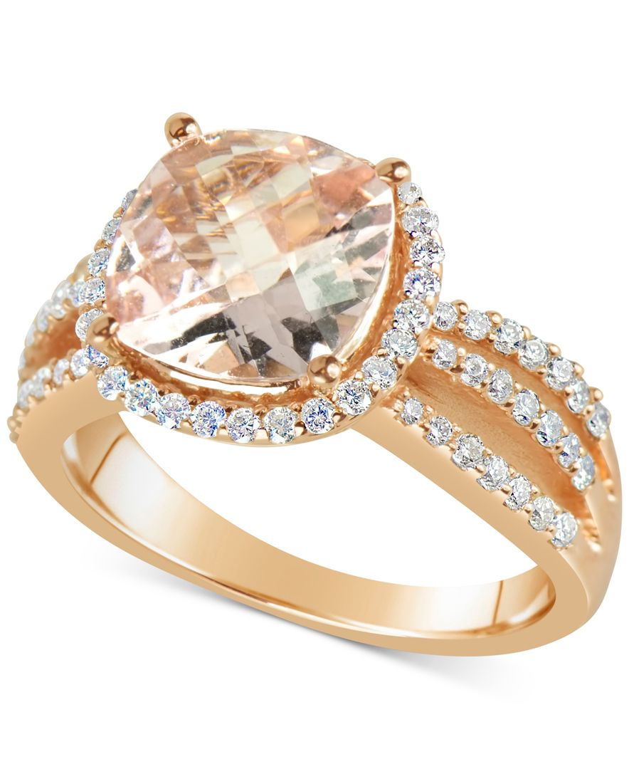 Macy s Morganite 3 Ct T w And Diamond 1 2 Ct T w Split Shank Ring