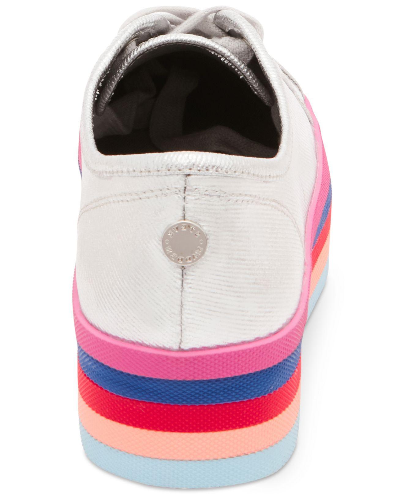 ae80ccc0c6b Lyst - Steve Madden Women s Rainbow Flatform Sneakers in Metallic