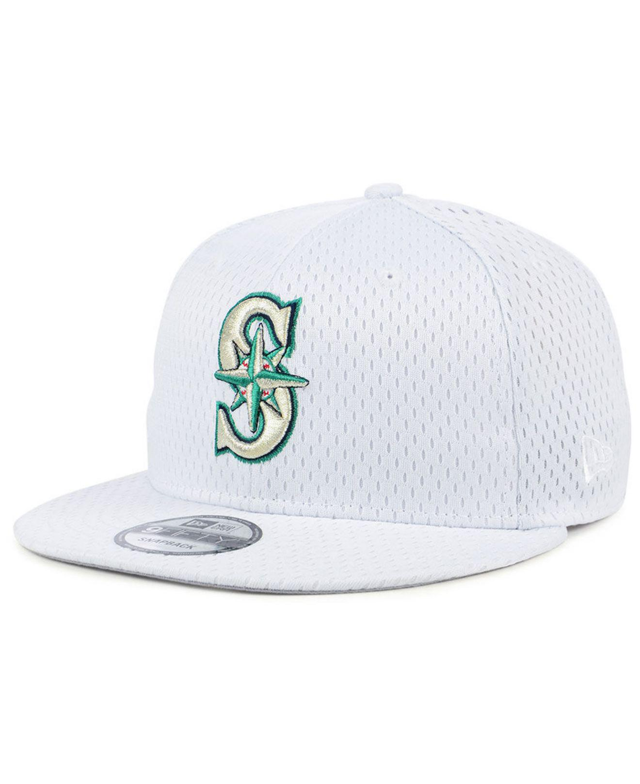 new product 300fc 65a3e ... discount ktz white seattle mariners batting practice mesh 9fifty  snapback cap for men lyst. view